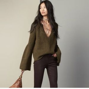 FREE PEOPLE BELL ARM DEEP V SWEATER IN ARMY GREEN